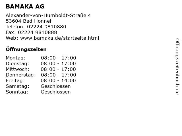 BAMAKA AG in Bad Honnef: Adresse und Öffnungszeiten