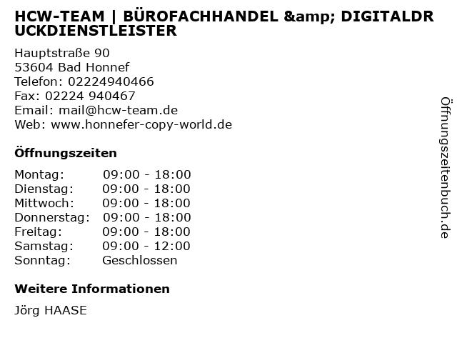 HCW-TEAM H. u. H. GbR in Bad Honnef: Adresse und Öffnungszeiten