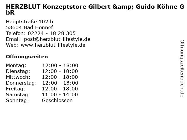 HERZBLUT Konzeptstore Gilbert & Guido Köhne GbR in Bad Honnef: Adresse und Öffnungszeiten