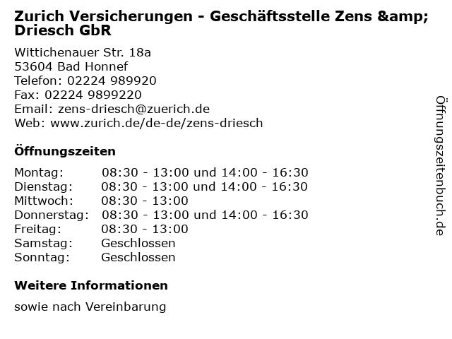 Zurich Versicherungen - Geschäftsstelle Zens & Driesch GbR in Bad Honnef: Adresse und Öffnungszeiten