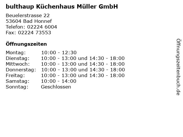 ᐅ Offnungszeiten Bulthaup Kuchenhaus Muller Gmbh Beuelerstrasse