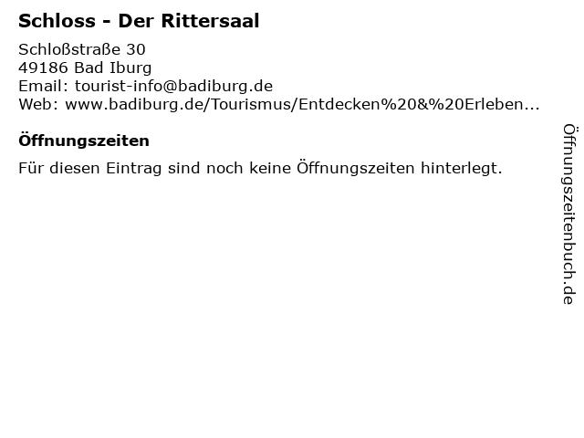 Schloss - Der Rittersaal in Bad Iburg: Adresse und Öffnungszeiten