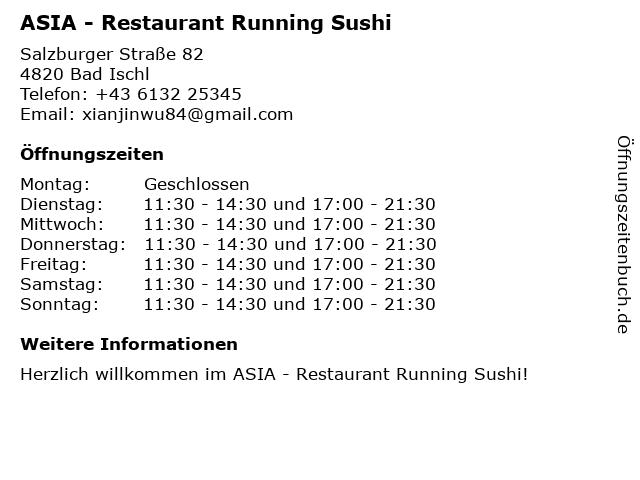 ASIA - Restaurant Running Sushi in Bad Ischl: Adresse und Öffnungszeiten