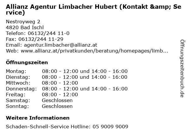 Allianz Agentur Limbacher Hubert (Kontakt & Service) in Bad Ischl: Adresse und Öffnungszeiten