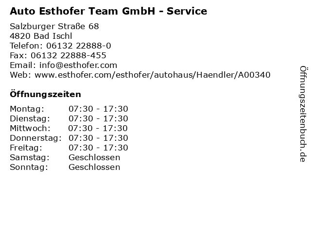 Auto Esthofer Team GmbH - Service in Bad Ischl: Adresse und Öffnungszeiten