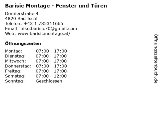 Barisic Montage - Fenster und Türen in Bad Ischl: Adresse und Öffnungszeiten