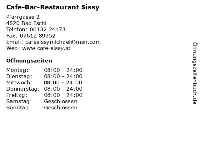 Cafe-Bar-Restaurant Sissy in Bad Ischl: Adresse und Öffnungszeiten