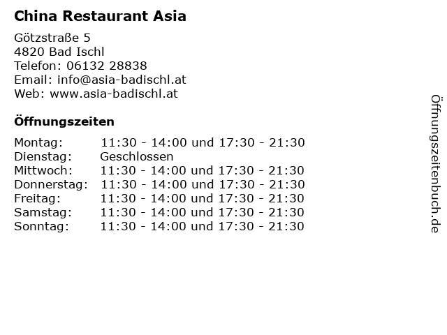 China Restaurant Asia in Bad Ischl: Adresse und Öffnungszeiten