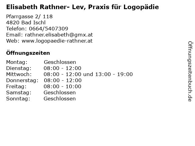 Elisabeth Rathner - Praxis für Logopädie in Bad Ischl: Adresse und Öffnungszeiten