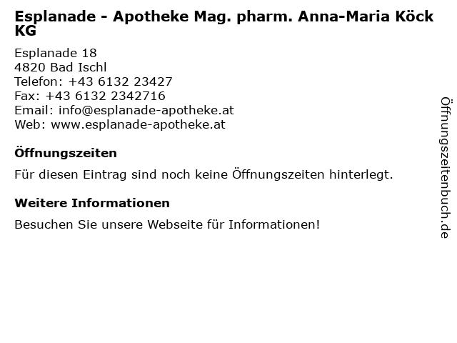 Esplanade - Apotheke in Bad Ischl: Adresse und Öffnungszeiten