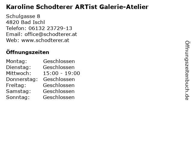 Karoline Schodterer ARTist Galerie-Atelier in Bad Ischl: Adresse und Öffnungszeiten
