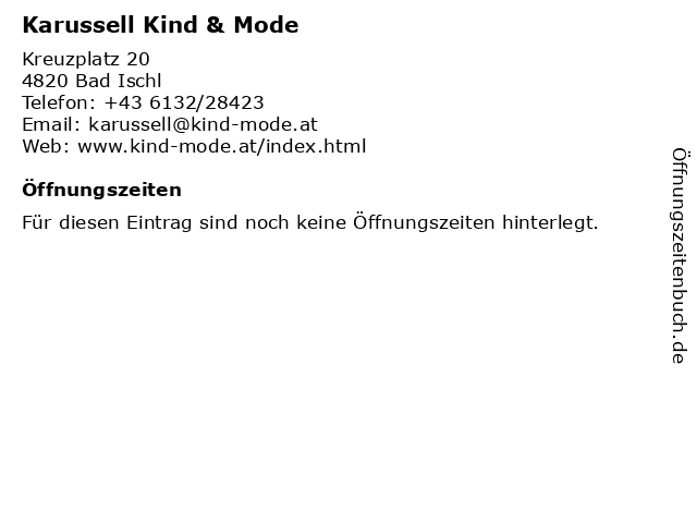 Karussell Kind & Mode in Bad Ischl: Adresse und Öffnungszeiten