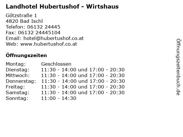 Landhotel Hubertushof - Restaurant in Bad Ischl: Adresse und Öffnungszeiten