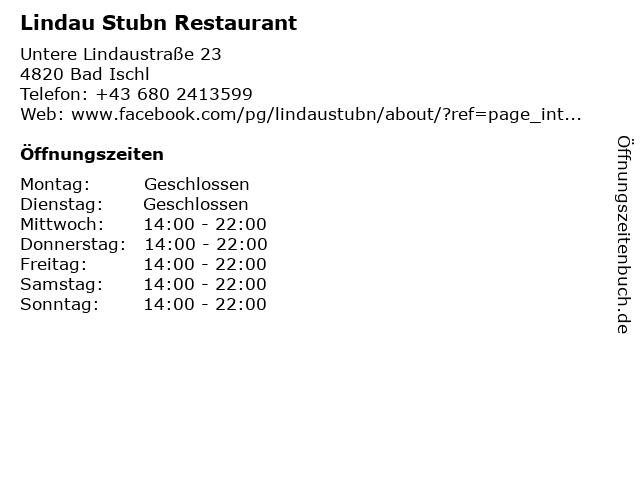 Lindau Stubn Restaurant in Bad Ischl: Adresse und Öffnungszeiten