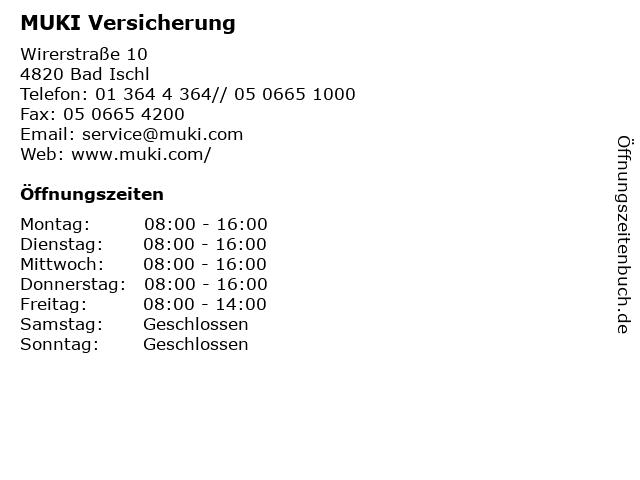 ᐅ öffnungszeiten Muki Versicherung Wirerstraße 10 In Bad Ischl