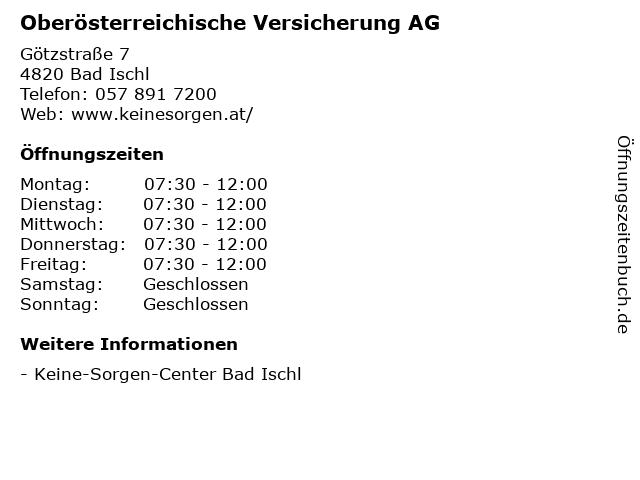 Oberösterreichische Versicherung AG in Bad Ischl: Adresse und Öffnungszeiten