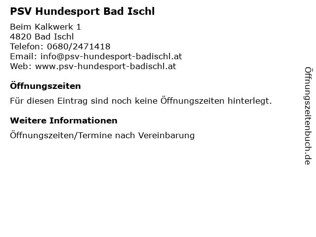 PSV Hundesport Bad Ischl in Bad Ischl: Adresse und Öffnungszeiten