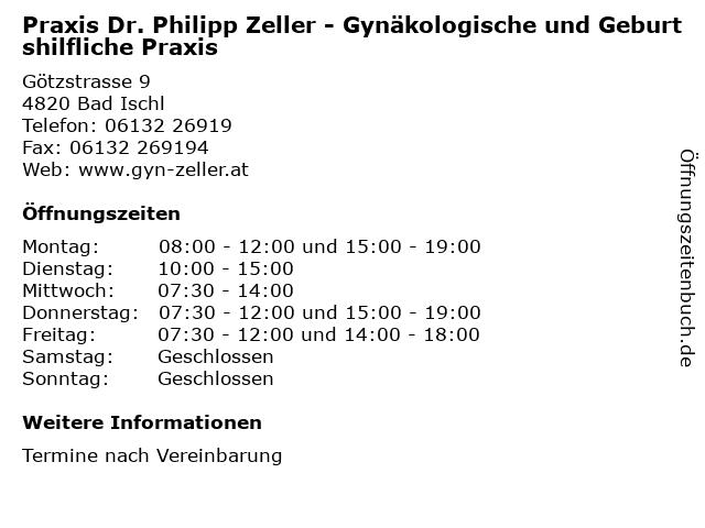Praxis Dr. Philipp Zeller - Gynäkologische und Geburtshilfliche Praxis in Bad Ischl: Adresse und Öffnungszeiten