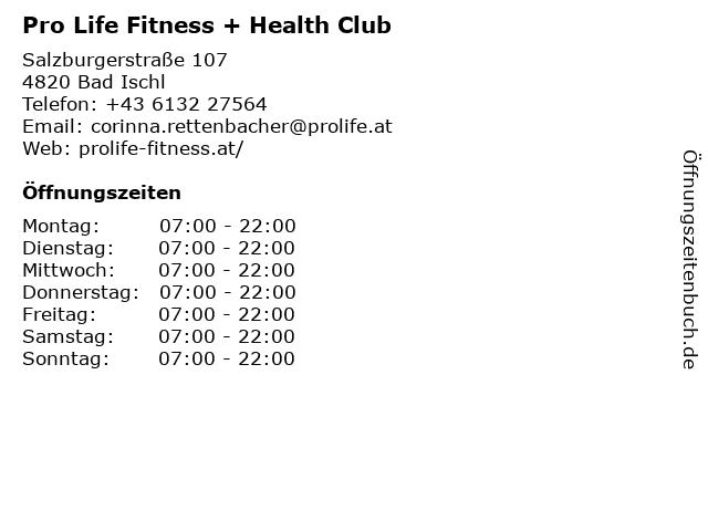 Pro Life Fitness + Health Club in Bad Ischl: Adresse und Öffnungszeiten