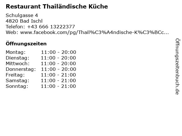 Restaurant Thailändische Küche in Bad Ischl: Adresse und Öffnungszeiten