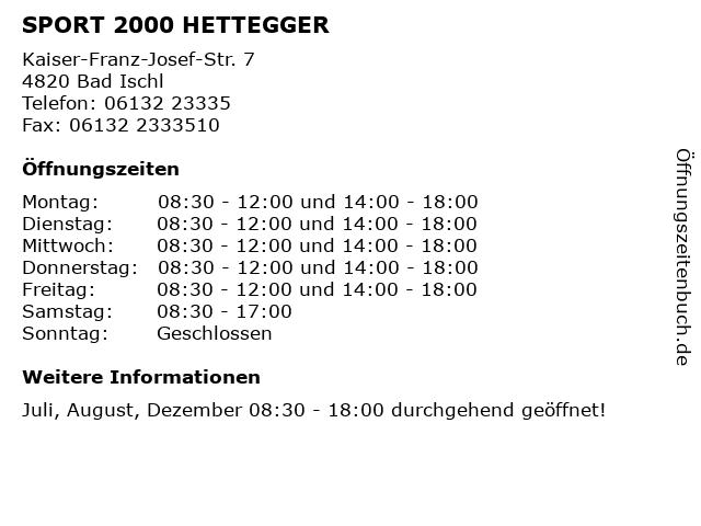 SPORT 2000 HETTEGGER in Bad Ischl: Adresse und Öffnungszeiten