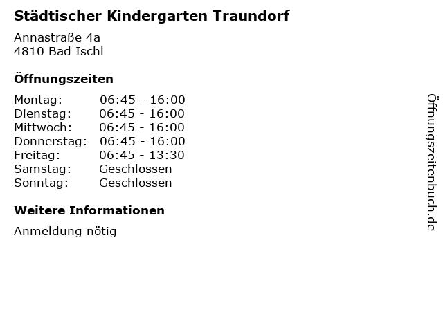 Städtischer Kindergarten Traundorf in Bad Ischl: Adresse und Öffnungszeiten