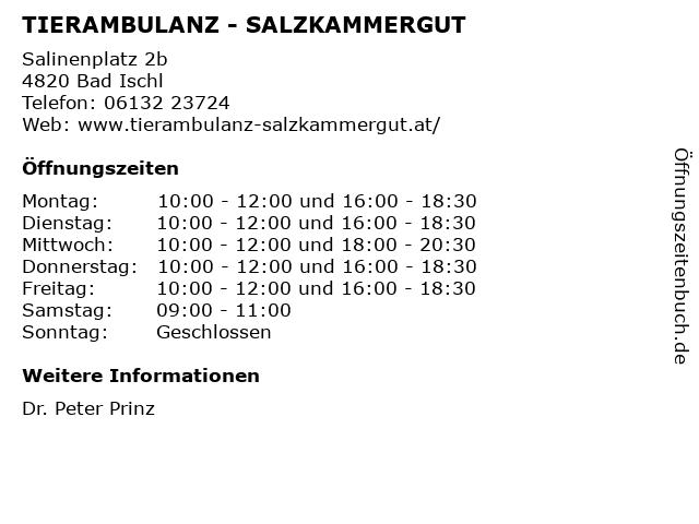 TIERAMBULANZ - SALZKAMMERGUT in Bad Ischl: Adresse und Öffnungszeiten