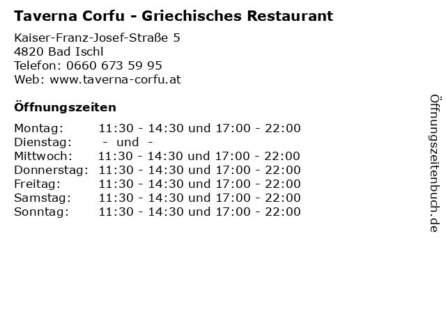 Taverna Corfu - Griechisches Restaurant in Bad Ischl: Adresse und Öffnungszeiten
