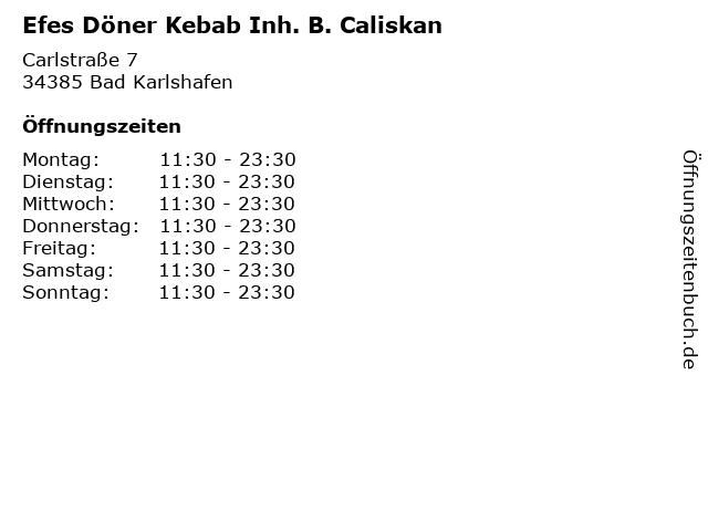 Efes Döner Kebab Inh. B. Caliskan in Bad Karlshafen: Adresse und Öffnungszeiten