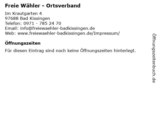 Freie Wähler - Ortsverband in Bad Kissingen: Adresse und Öffnungszeiten