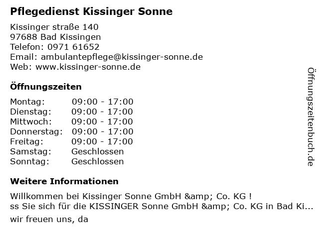 Pflegedienst Kissinger Sonne in Bad Kissingen: Adresse und Öffnungszeiten