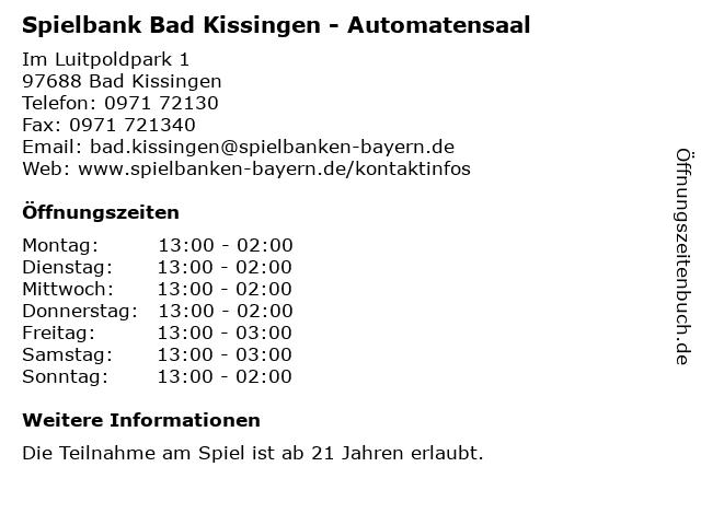 Spielbank Bad Kissingen - Automatensaal in Bad Kissingen: Adresse und Öffnungszeiten