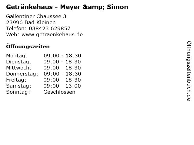 Getränkehaus - Meyer & Simon in Bad Kleinen: Adresse und Öffnungszeiten