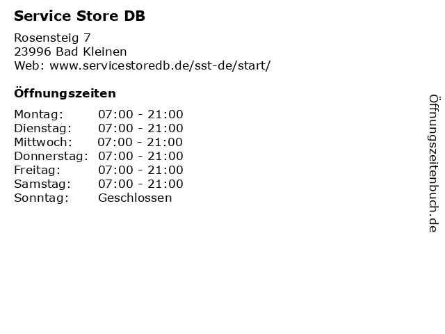 Service Store DB in Bad Kleinen: Adresse und Öffnungszeiten