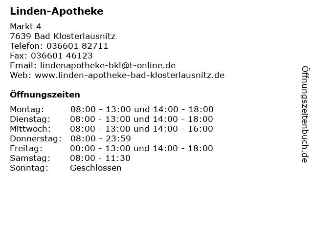 Linden-Apotheke in Bad Klosterlausnitz: Adresse und Öffnungszeiten
