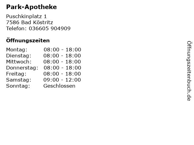 Park-Apotheke in Bad Köstritz: Adresse und Öffnungszeiten