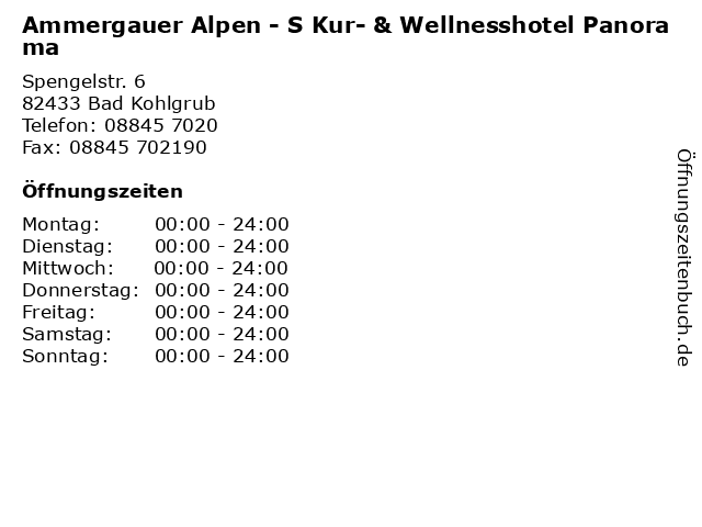 Ammergauer Alpen - S Kur- & Wellnesshotel Panorama in Bad Kohlgrub: Adresse und Öffnungszeiten