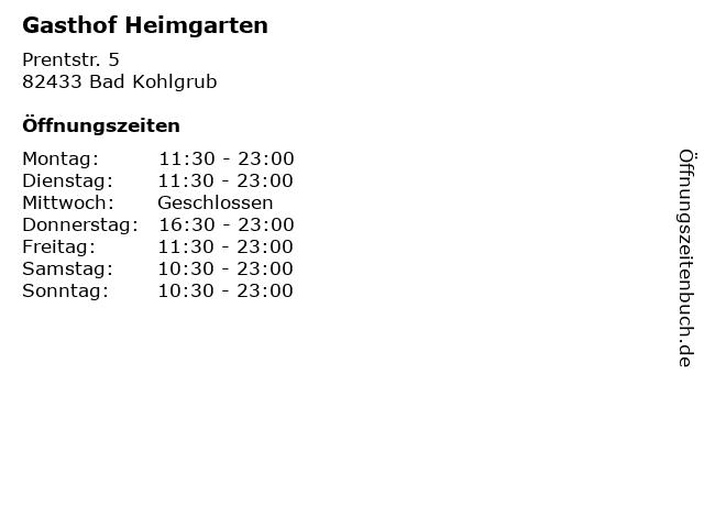 Gasthof Heimgarten in Bad Kohlgrub: Adresse und Öffnungszeiten