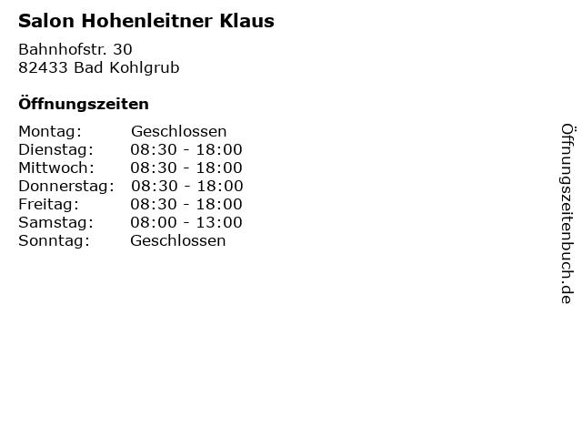 Salon Hohenleitner Klaus in Bad Kohlgrub: Adresse und Öffnungszeiten