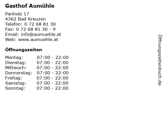 Gasthof Aumühle in Bad Kreuzen: Adresse und Öffnungszeiten