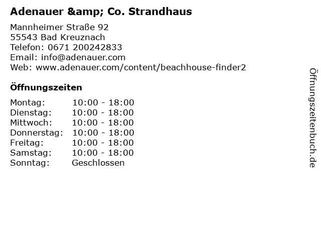 Adenauer & Co. Strandhaus in Bad Kreuznach: Adresse und Öffnungszeiten