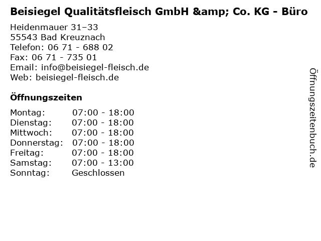 Beisiegel Qualitätsfleisch GmbH & Co. KG - Büro in Bad Kreuznach: Adresse und Öffnungszeiten