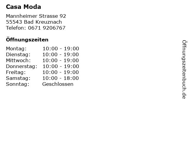 Casa Moda in Bad Kreuznach: Adresse und Öffnungszeiten