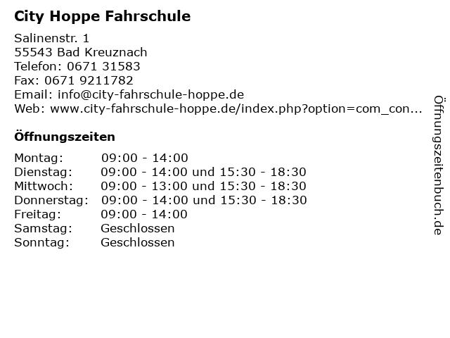 City Hoppe Fahrschule in Bad Kreuznach: Adresse und Öffnungszeiten