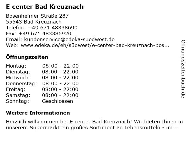 E center Bad Kreuznach in Bad Kreuznach: Adresse und Öffnungszeiten