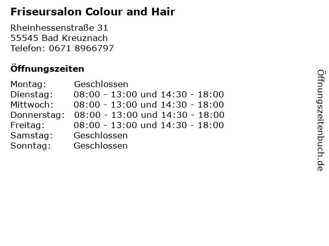 Friseursalon Colour and Hair in Bad Kreuznach: Adresse und Öffnungszeiten