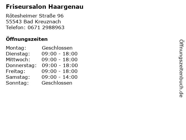 Friseursalon Haargenau in Bad Kreuznach: Adresse und Öffnungszeiten