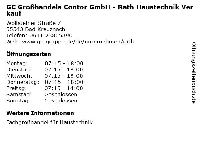 GC Großhandels Contor GmbH - Rath Haustechnik Verkauf in Bad Kreuznach: Adresse und Öffnungszeiten