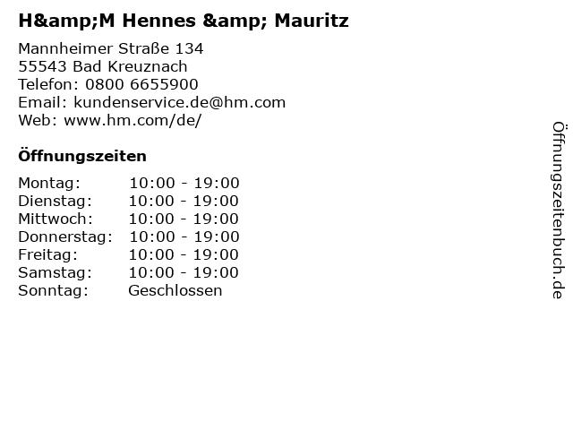 H&M Hennes & Mauritz in Bad Kreuznach: Adresse und Öffnungszeiten