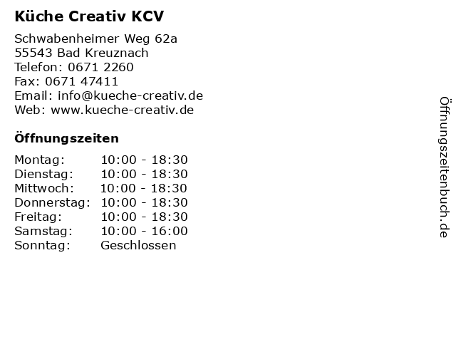 ᐅ Offnungszeiten Kuche Creativ Kcv Schwabenheimer Weg 62a In Bad